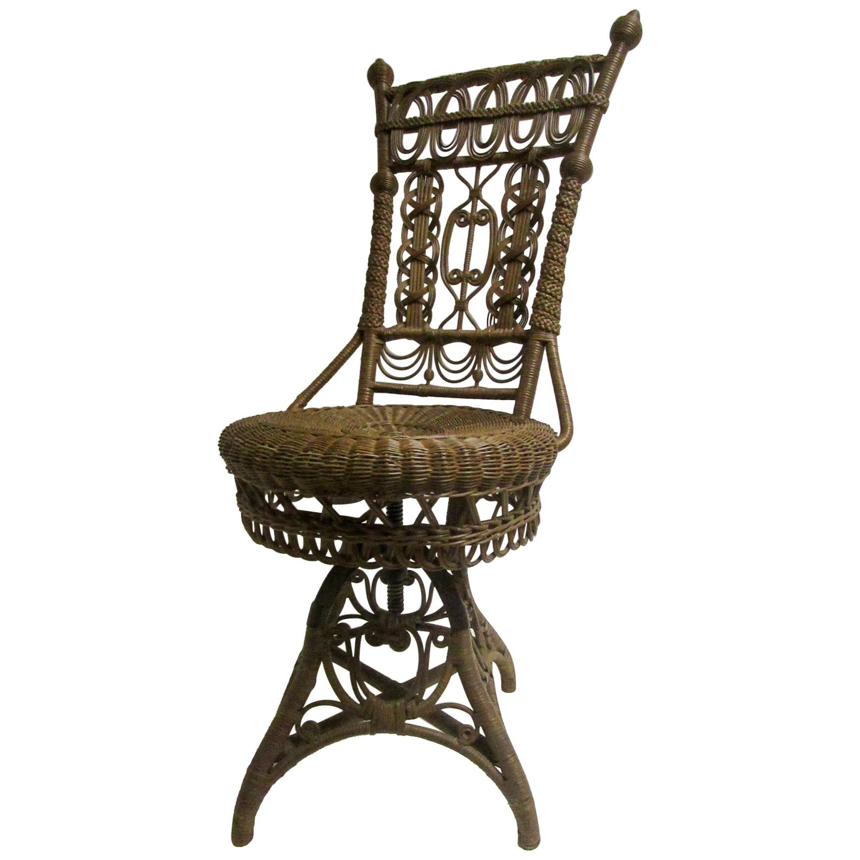 19th Century Heywood Bros. and Wakefield Co. Natural Wicker Swivel Piano Chair