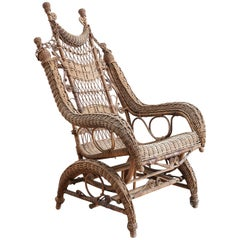 19th Century Heywood Wakefield Wicker Platform Rocker