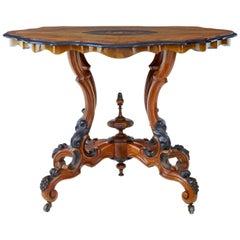 19th Century High Victorian Inlaid Walnut Center Table
