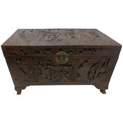19th Century Highly Carved Asian Blanket Chest Trunk