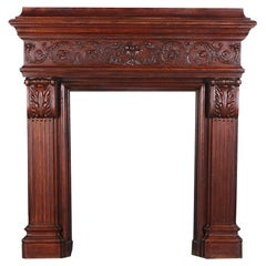 19th Century Highly Carved Oak French Renaissance Revival Mantle Fire Surround