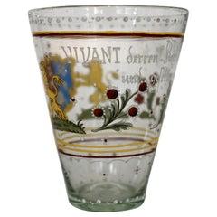 19th Century Historicism Glass Painted Enamel Colors Lions Locksmiths' Guild