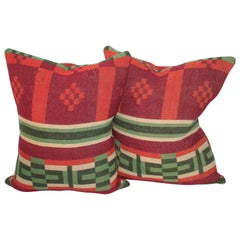 19th Century Horse Blanket Pillows, Pair