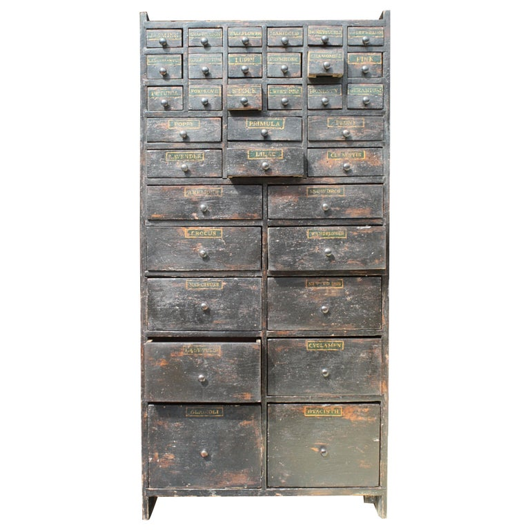 19th Century Horticulturalist Merchants Bank of Seed Shop Drawers For Sale