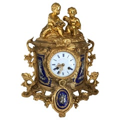 19th Century Howell James Porcelain Mounted Ormolu Mantel Clock