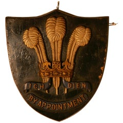 19th Century HRH Edward VII, Prince of Wales Feathers Royal Warrant Plaque