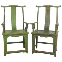 "19th Century Huanghuali 'Offical's Hat"" Yokeback Armchairs Guanmoyi Style a Pair"