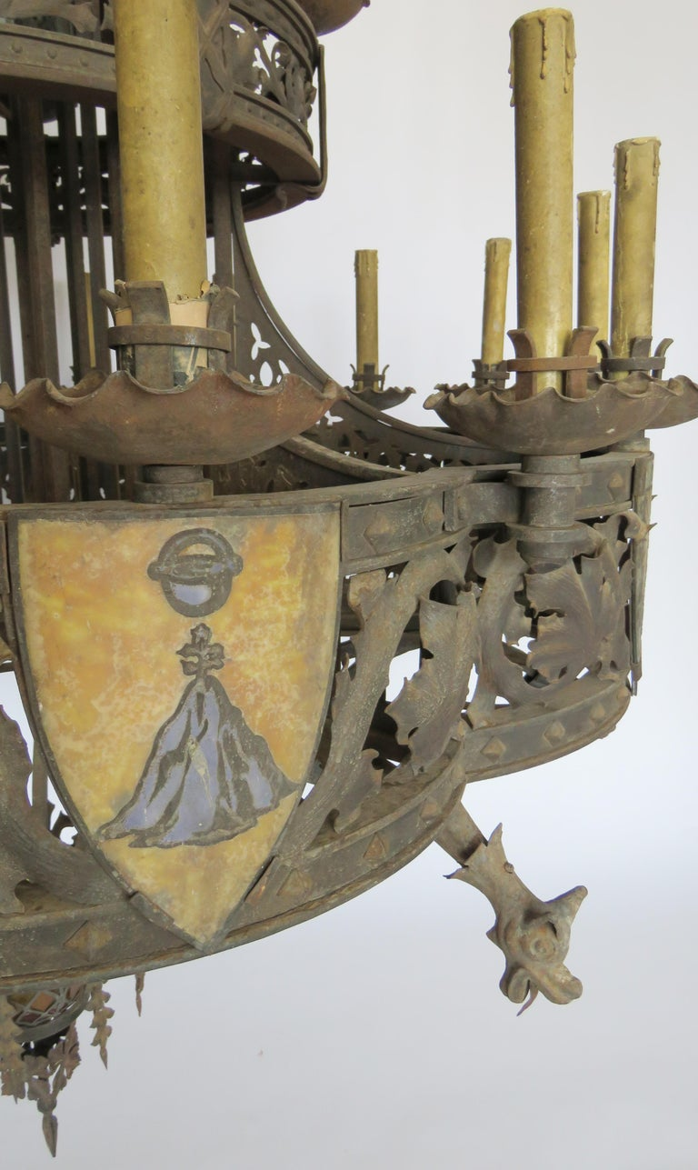19th Century Huge Gothic Iron Chandelier For Sale 5