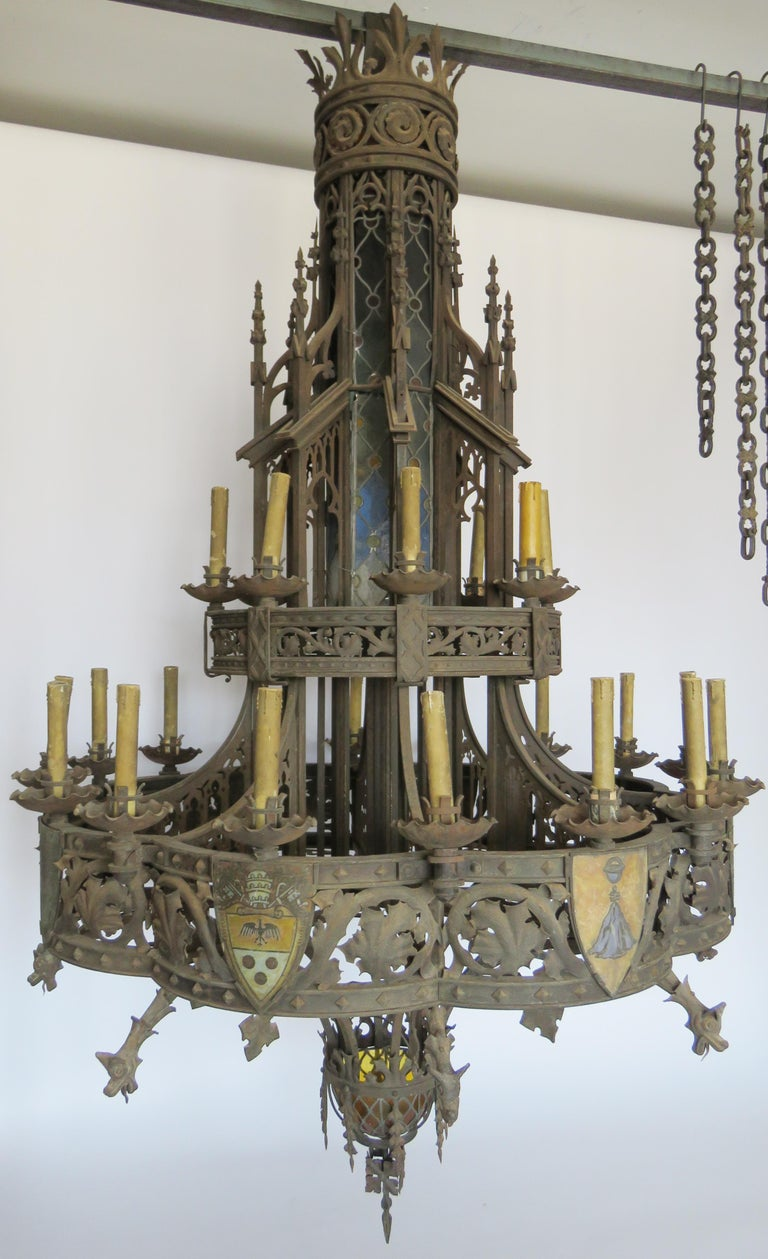 Gothic Revival 19th Century Huge Gothic Iron Chandelier For Sale