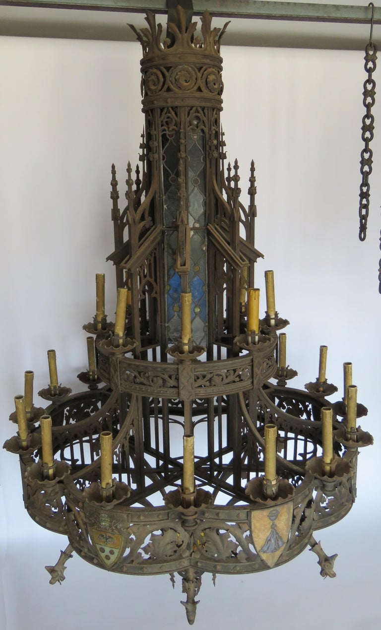 Hand-Knotted 19th Century Huge Gothic Iron Chandelier For Sale