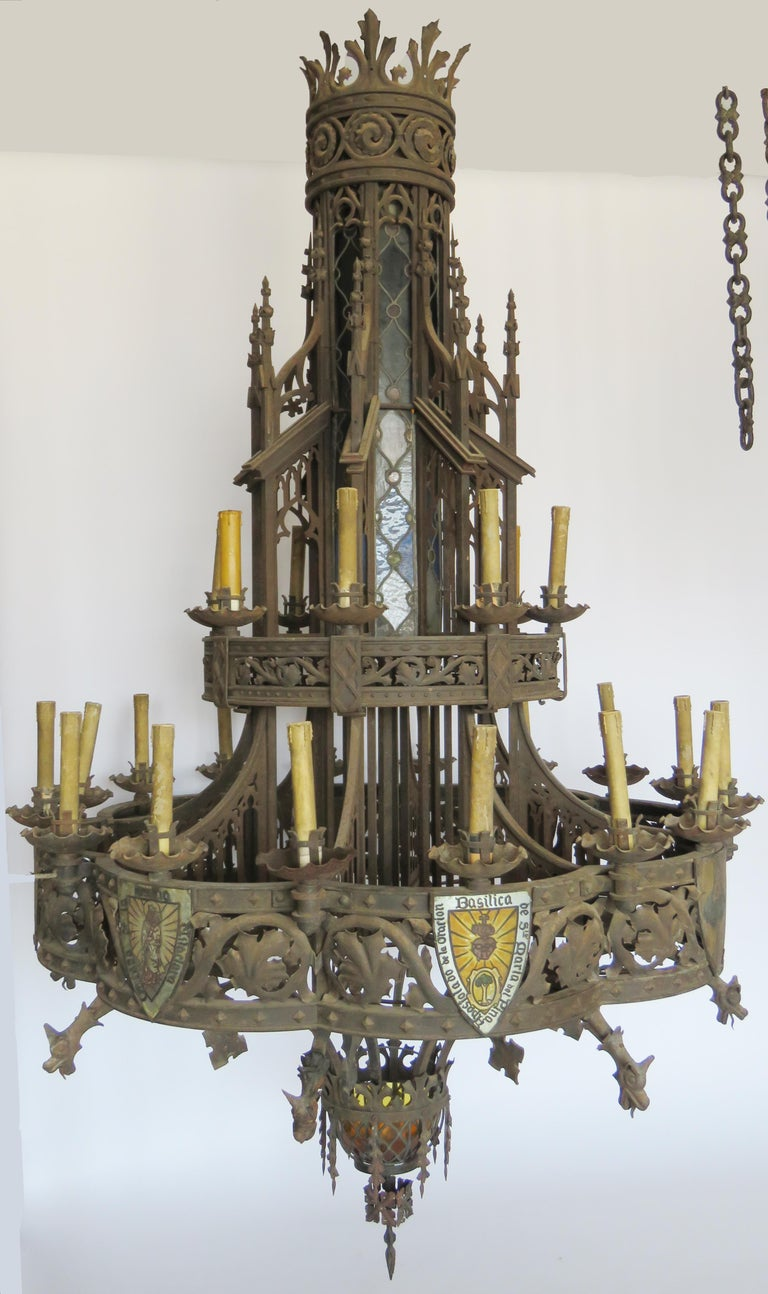 Blown Glass 19th Century Huge Gothic Iron Chandelier For Sale