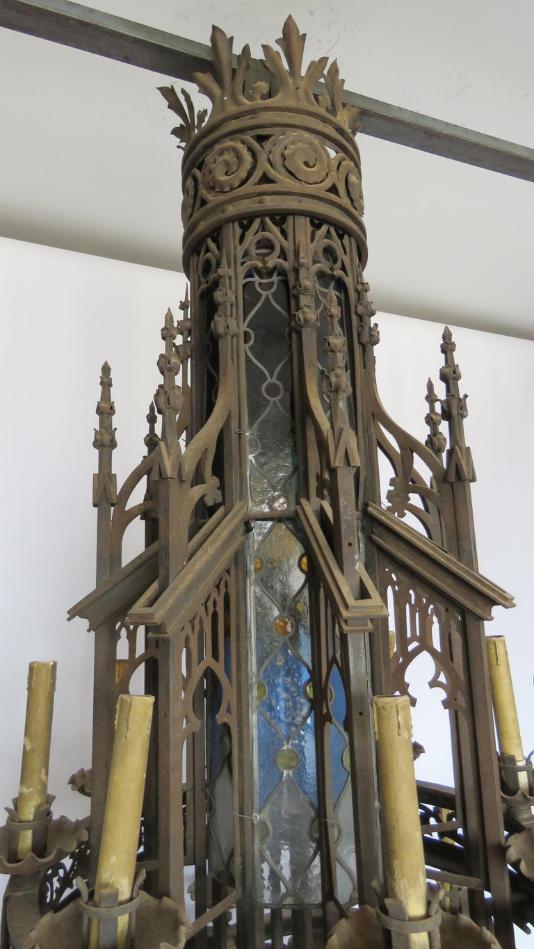 19th Century Huge Gothic Iron Chandelier For Sale 1