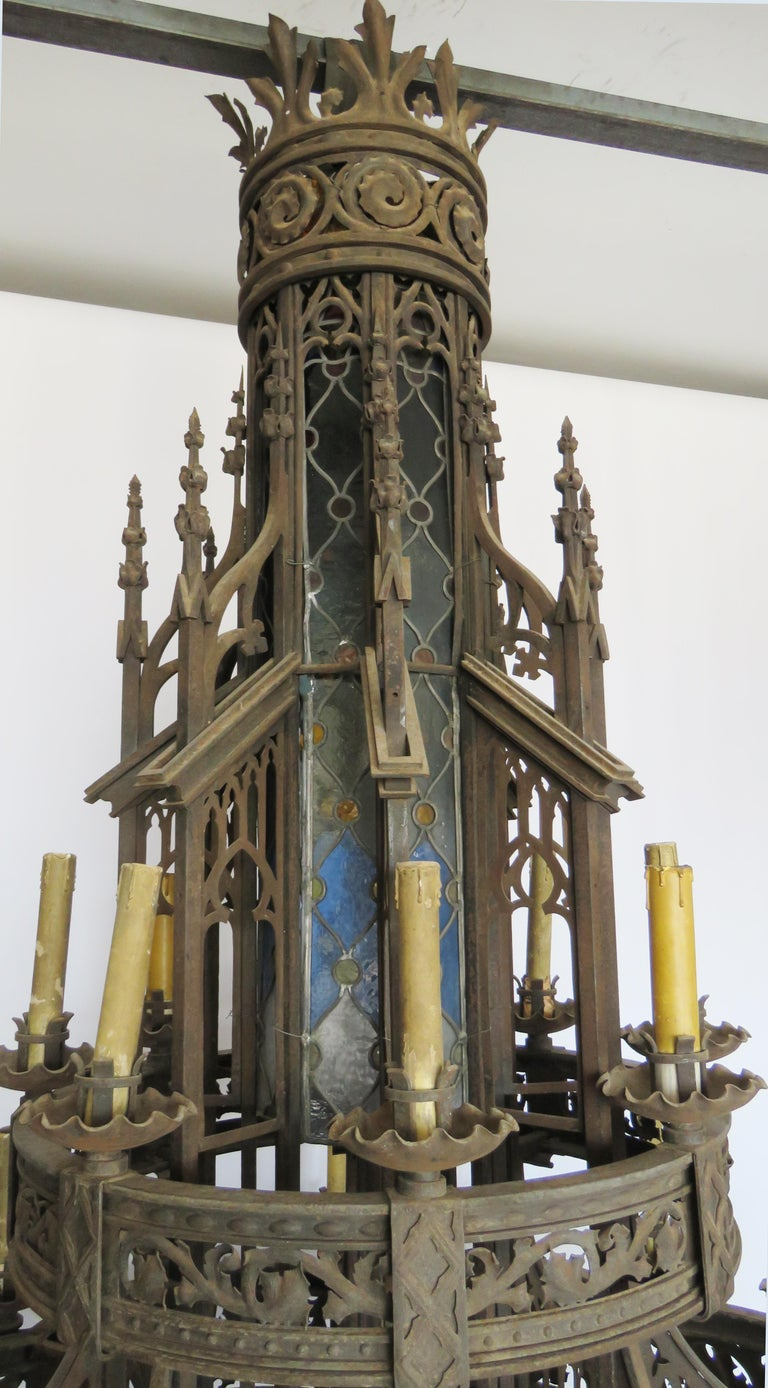 19th Century Huge Gothic Iron Chandelier For Sale 2