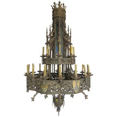 19th Century Huge Gothic Iron Chandelier