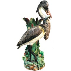19th Century Hugo Lonitz Majolica Heron Flower Vase Stick Stand