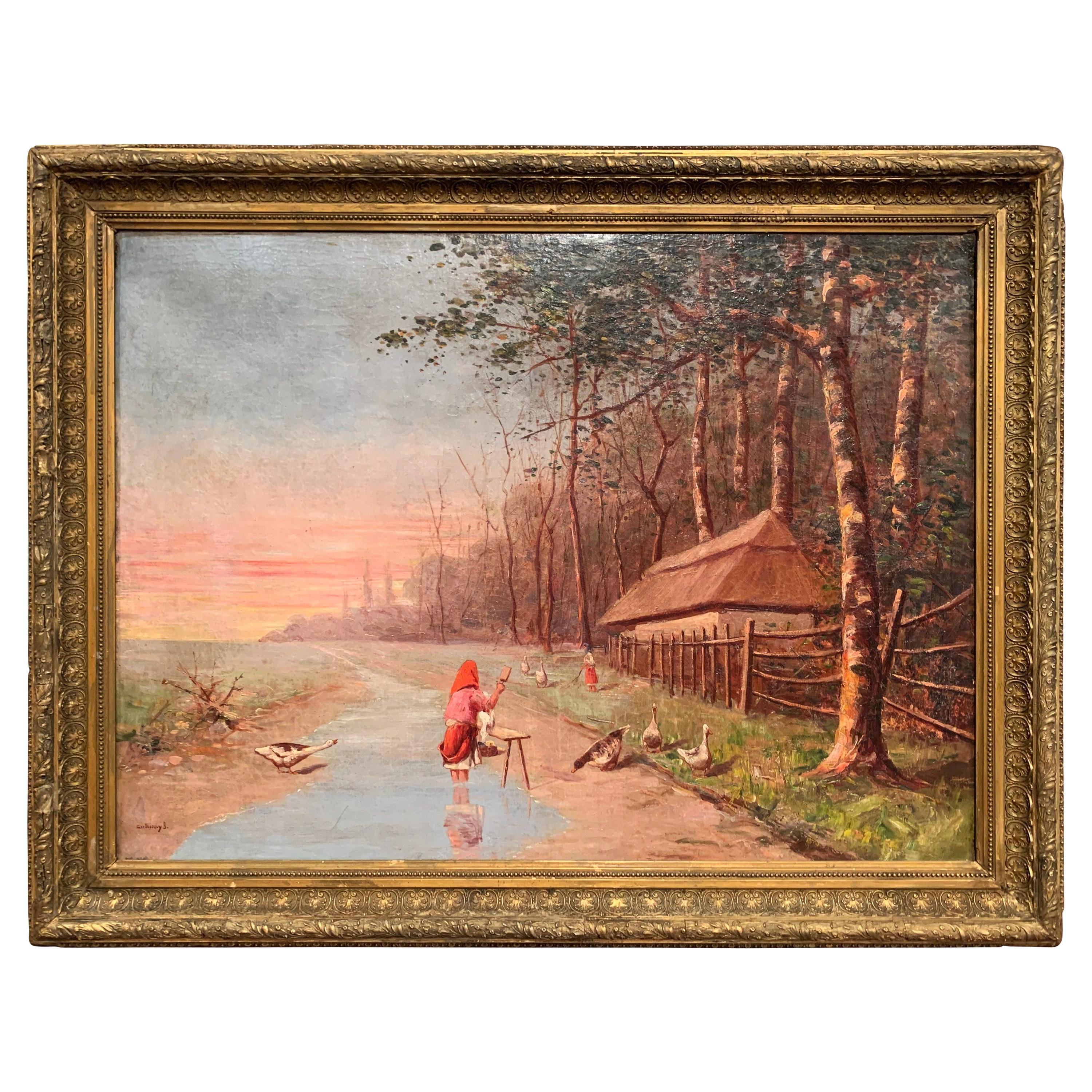 19th Century Hungarian Oil on Canvas Painting in Gilt Frame Signed Guniczky