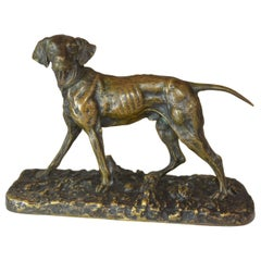 19th Century Hunting Dog Pointer Bronze Animal P.J Mêne
