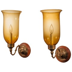 19th Century Hurricane Shade Sconces with Amber Colored Glass