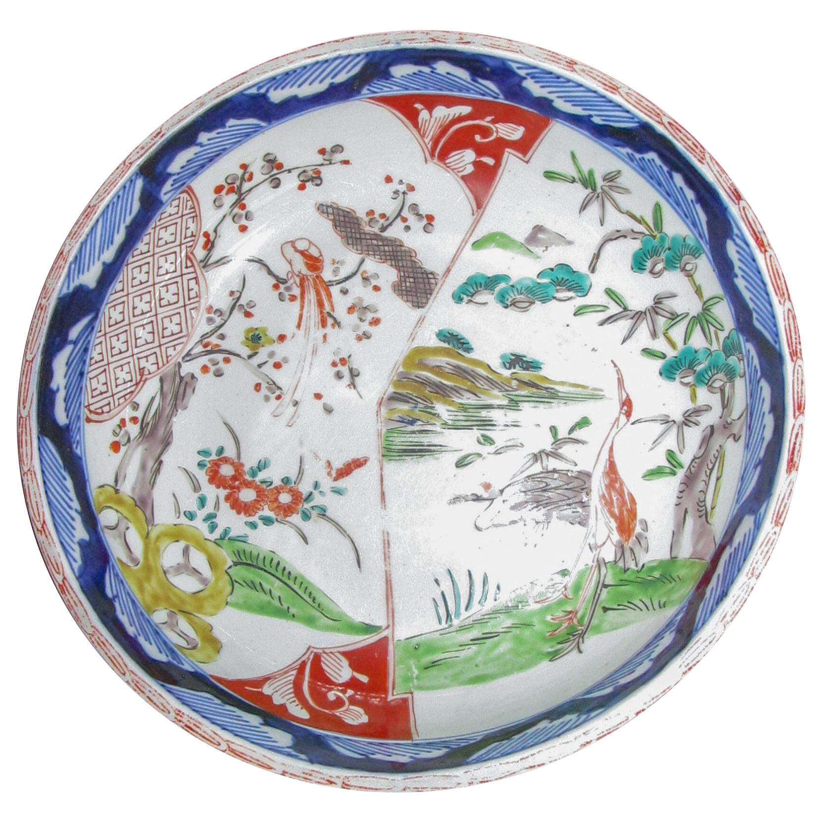 19th Century Imari Japanese Meiji Bowl with Crane Motif