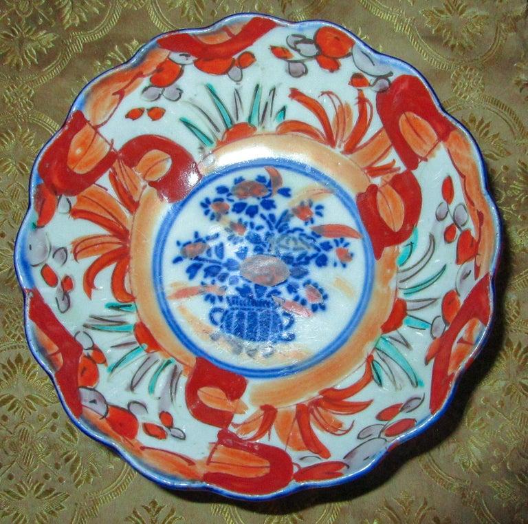 Porcelain 19th Century Imari Japanese Meiji Scalloped Bowl For Sale