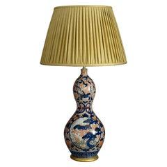 19th Century Imari Porcelain Gourd Vase Lamp