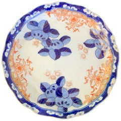 19th Century Imari Style Orange and Blue Plate with Gilt Details, Scalloped Edge