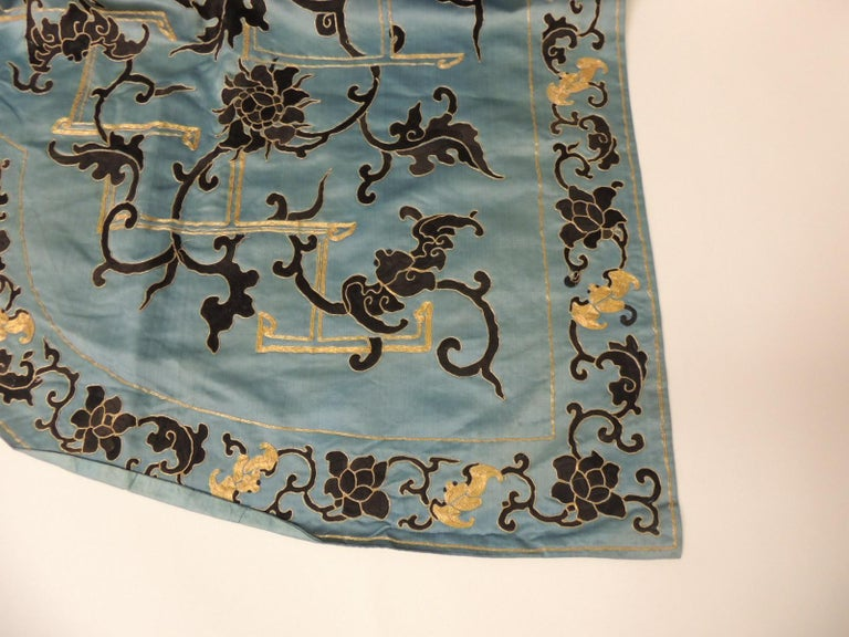 Late 19 Century Imperial Gold and Black Embroidered Asian Portiere/Wall Hanging For Sale 4