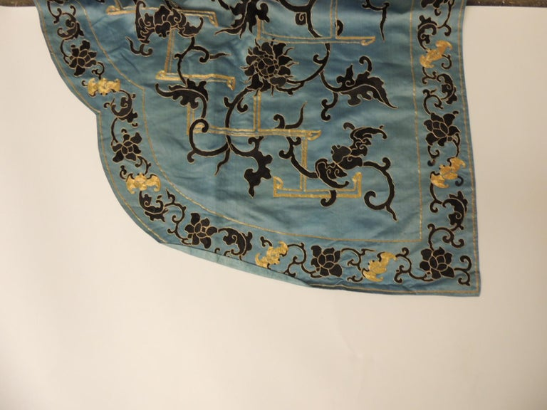 Late 19 Century Imperial Gold and Black Embroidered Asian Portiere/Wall Hanging For Sale 6