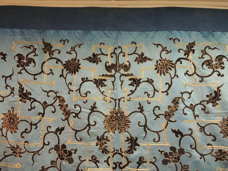 Late 19 Century Imperial Gold and Black Embroidered Asian Portiere/Wall Hanging In Good Condition For Sale In Fort Lauderdale, FL