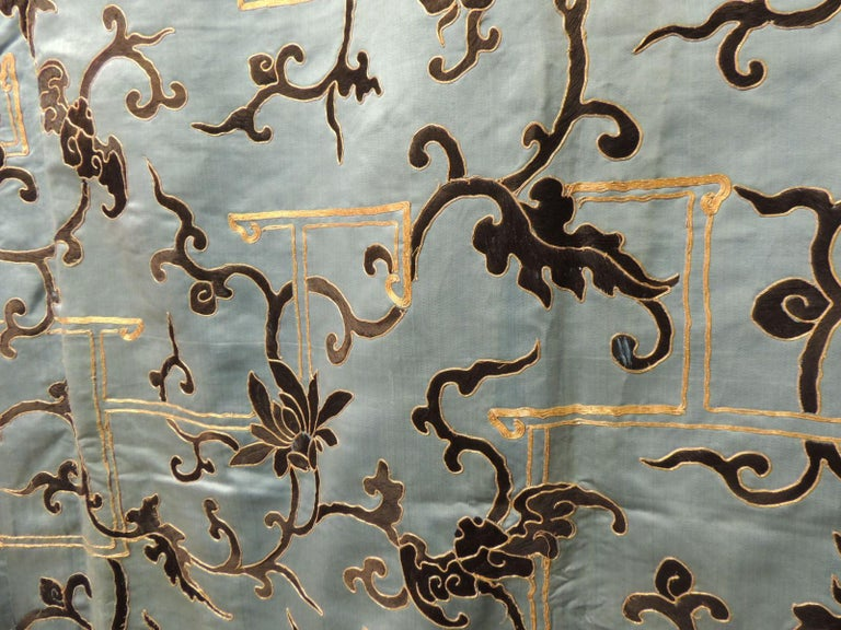 19th Century Late 19 Century Imperial Gold and Black Embroidered Asian Portiere/Wall Hanging For Sale