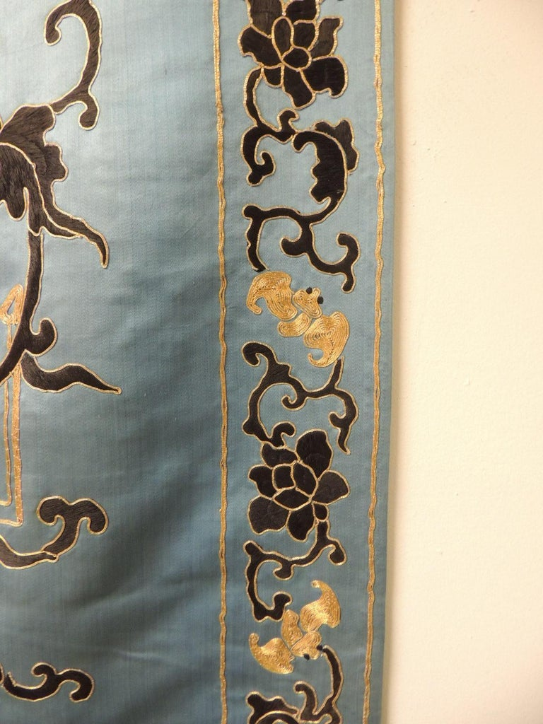 Silk Late 19 Century Imperial Gold and Black Embroidered Asian Portiere/Wall Hanging For Sale