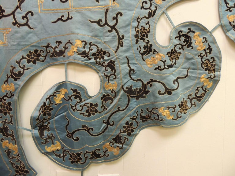 Late 19 Century Imperial Gold and Black Embroidered Asian Portiere/Wall Hanging For Sale 1