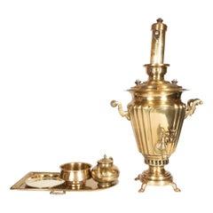 19th Century Imperial Russian Brass Six Piece Samovar Set by Alenchikov & Zimin