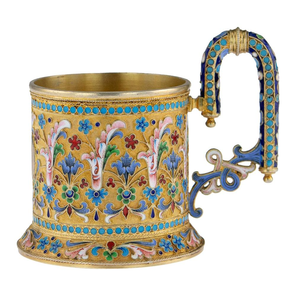 19th Century Imperial Russian Silver-Gilt Enamel Tea Glass Holder, circa 1896