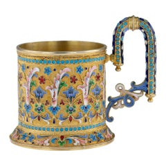 19th Century Imperial Russian Silver-Gilt Enamel Tea Glass Holder, circa 1896
