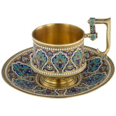 19th Century Imperial Russian Solid Silver-Gilt and Enamel Cup on Saucer