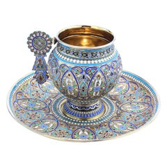 19th Century Imperial Russian Solid Silver-Gilt & Enamel Cup on Saucer, c.1887