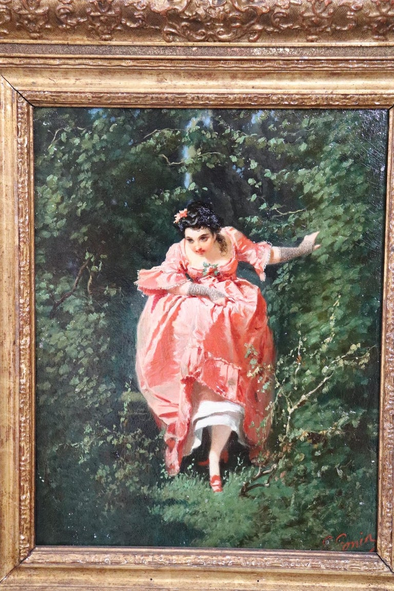 Important refined oil painting on cardboard from a collection of nineteenth century works. Painting by G. Gonin, a very important artist who entered the history of art among the great Piedmontese painters of the 19th century.  Biographical