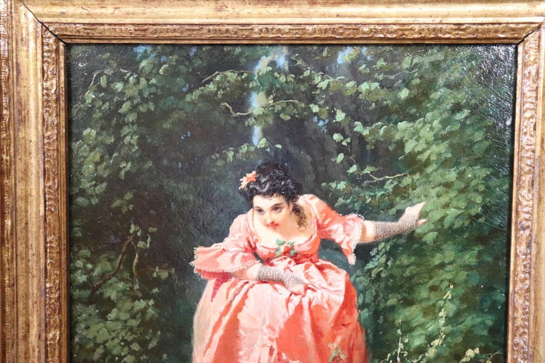 Oiled 19th Century Important Italian Artis Oil Painting on Hardboard Girl in the Woods For Sale