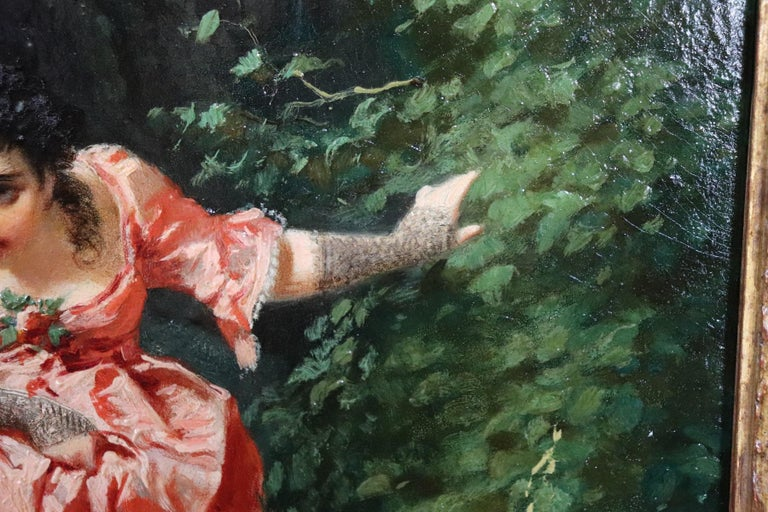 19th Century Important Italian Artis Oil Painting on Hardboard Girl in the Woods In Excellent Condition For Sale In Bosco Marengo, IT