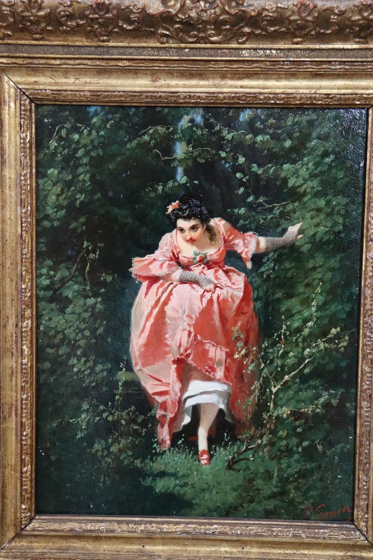 Mid-19th Century 19th Century Important Italian Artis Oil Painting on Hardboard Girl in the Woods For Sale