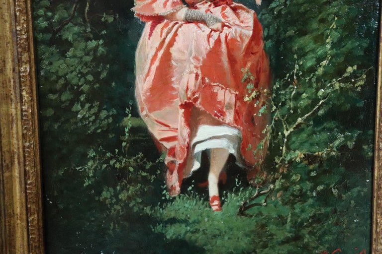 19th Century Important Italian Artis Oil Painting on Hardboard Girl in the Woods For Sale 1