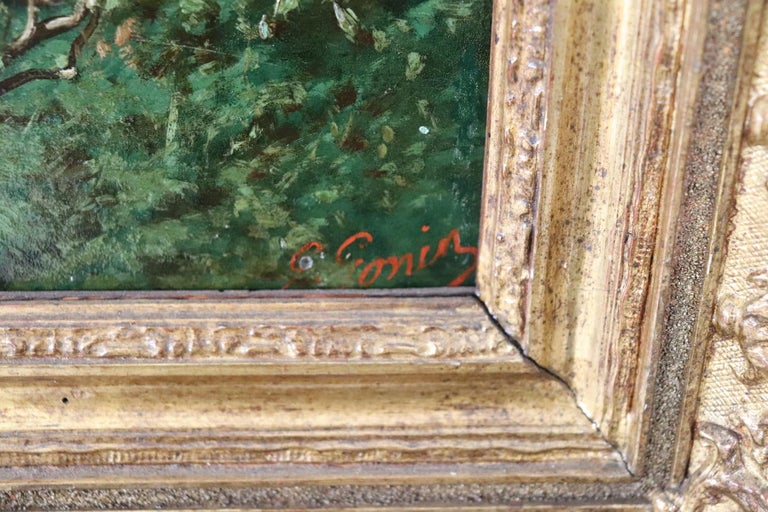 19th Century Important Italian Artis Oil Painting on Hardboard Girl in the Woods For Sale 2
