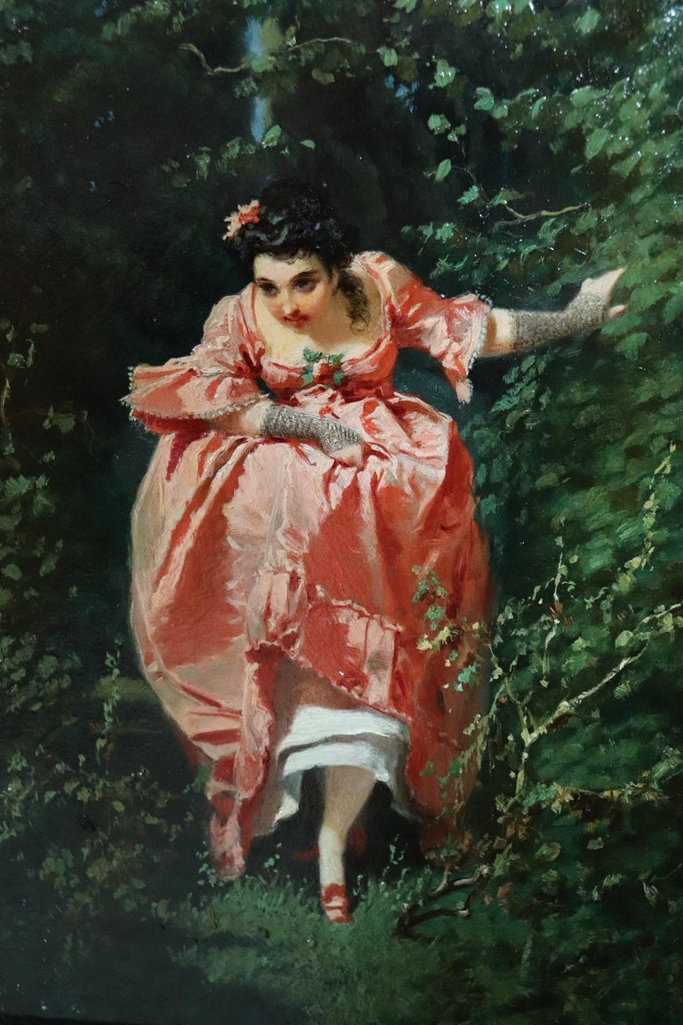19th Century Important Italian Artis Oil Painting on Hardboard Girl in the Woods For Sale 3
