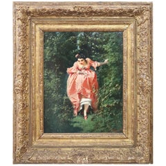 19th Century Important Italian Artis Oil Painting on Hardboard Girl in the Woods