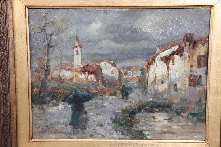 Important oil painting on cardboard coming from a collection of 19th century works. painting by E. Gignous, an artist of great importance, who entered the history of art among the great 19th century Lombard painters.  Biographical note: Gignous