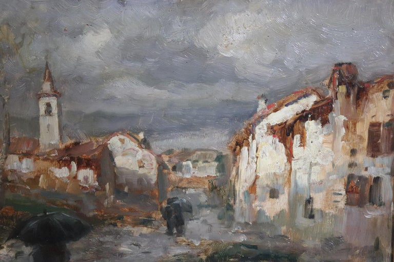 Oiled 19th Century Important Italian Artis Oil Painting on Hardboard Landscape For Sale
