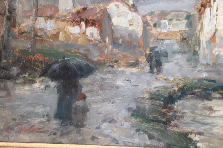 19th Century Important Italian Artis Oil Painting on Hardboard Landscape In Excellent Condition For Sale In Bosco Marengo, IT