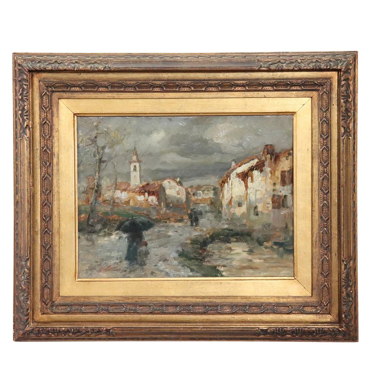 19th Century Important Italian Artis Oil Painting on Hardboard Landscape