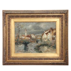 19th Century Important Italian Artis Oil Painting on Hardboard Landscape